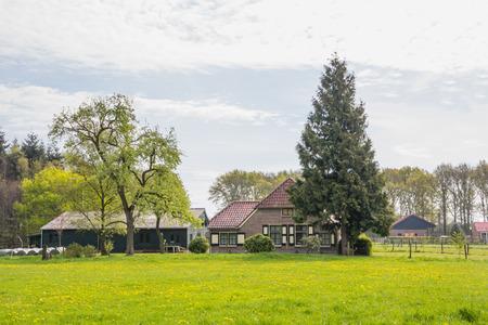Dutch farmhouse near Dalfsen in the Netherlands 写真素材