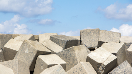 cement pile: Sea dike with square blocks