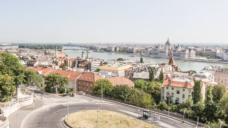 castle district: Panorama of Budapest from the hogher castle district. Stock Photo