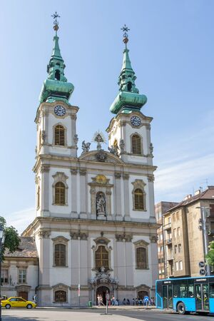 anne: BUDAPEST, HUNGARY, - JULY 21, 2015: Street view and facade of the Saint Anne church in Budapest the capital city of Hungary Editorial