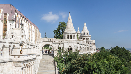 castle district: BUDAPEST, HUNGARY, - JULY 21, 2015:  Castle district with Matthias church in Budapest the capital city of Hungary Editorial