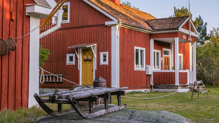 fishing cabin: Folk school on the island Harstena in Sweden, principally known for the seal hunting that was once carried out there. It is now a tourist attraction. Editorial