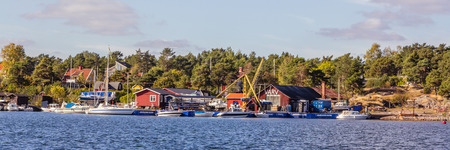 sund: Small harbor and yard of the village Arkosunds  in south Sweden