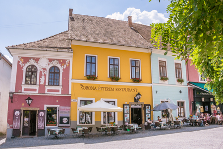 Shops and restaurants at the center of Szentendre in Hungary Editorial