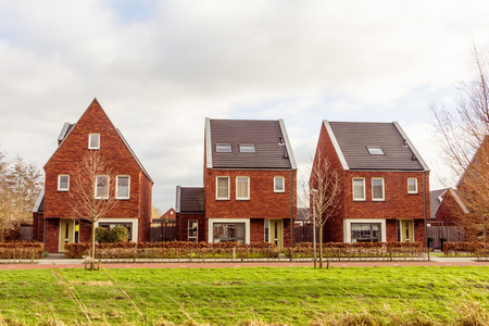 Modern suburb houses in the Netherlands Stock Photo