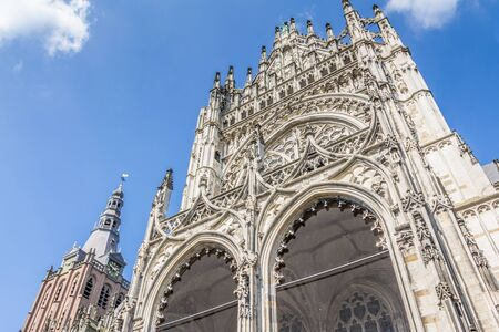 Exterior of the large gothic medieval cathedral of Saint John in 's-Hertogenbosch in the  Netherlands