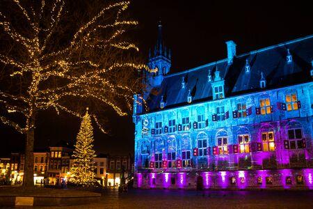 The city hall of Gouda Holland during Christmas