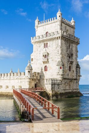 the tagus: Belem Tower on the Tagus River a famous landmark in in Lisbon Portugal Stock Photo