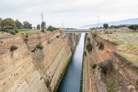 seaway: Corinth channel in Peloponnese Stock Photo