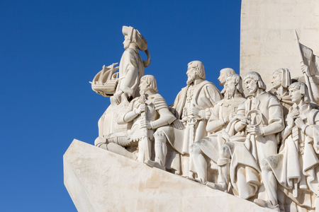 discoverer: Monument of the Discoveries, Lisbon, Portugal. Monument built for the portuguese world exhibition of 1940, as a memory to the discoveries made by Portugal and Vasco da Gama
