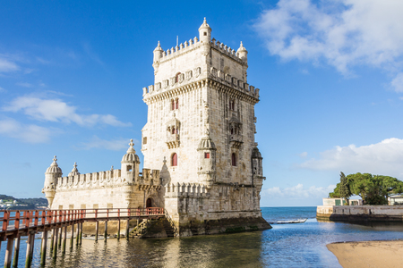 Belem Tower on the Tagus River a famous landmark in in Lisbon Portugal Archivio Fotografico