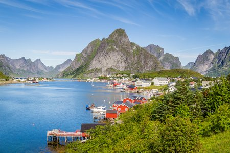 Picturesque town o f Reine on Lofoten islands in Norway Stock Photo