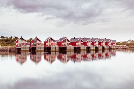 rorbu: Beautiful rorbu or fishermans houses in Svolvaer Lofoten Islands in Norway Stock Photo