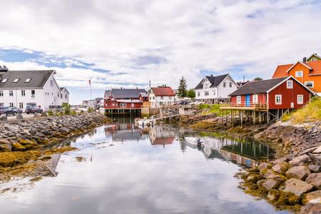 Picturesque fishing village  Henningsvaer on  Lofoten islands in Norway