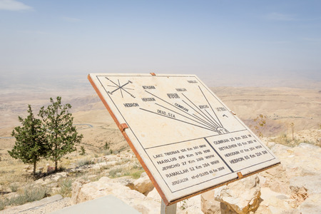 holy land: Map on top of Mount Neboin Jordan where Moses viewed the Holy Land.. Stock Photo