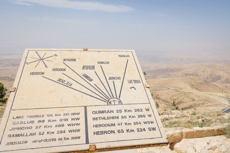 the holy land: Map on top of Mount Neboin Jordan where Moses viewed the Holy Land.. Stock Photo