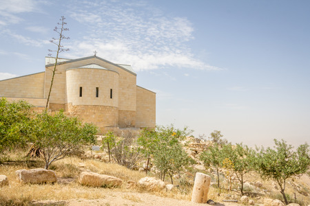 the holy land: Monestry on top of Mount Nebo in Jordan where Moses viewed the Holy Land.