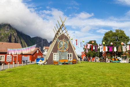Decorated rorbu or fishermans house in Svolvaer Lofoten Islands in Norway