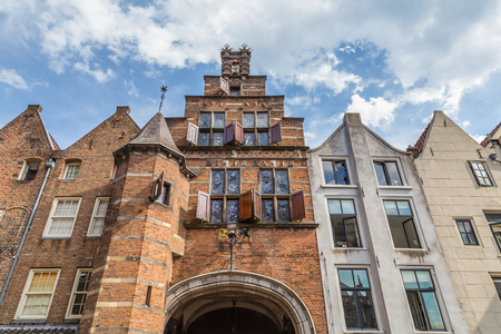The Stevens gate on the central historic square with bars and restaurants in the ancient Dutch city center of Nijmegen