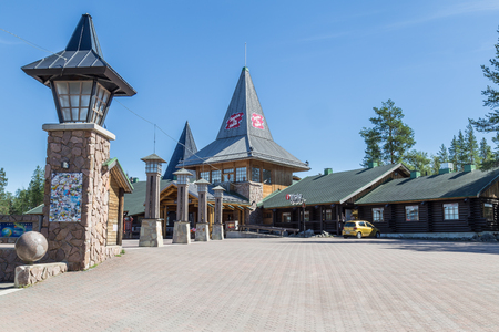 artic: ROVANIEMI, FINLAND - JULY 22, 2016:  Santa Claus holiday village and artic circle line in Rovanimie. Finland Editorial