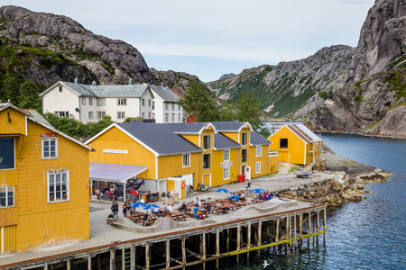 NUSFJORD, FINLAND - JULY 30, 2016:Fishing village and UNESCO World Heritage Site Nusfjord on Lofoten islands in Norway.
