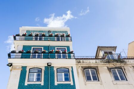 Facade covered with azulejos Lisbon Portugal Stock Photo