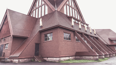 KIRUNA, SWEDEN- AUGUST 01, 2016: Exterior of the wooden  Kiruna Kyrka build in 1912. The church won the competention of most beautiful building in Sweden. Editorial