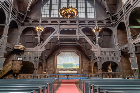 KIRUNA, SWEDEN- AUGUST 01, 2016: Interior of the wooden  Kiruna Kyrka build in 1912. The church won the competention of most beautiful building in Sweden.