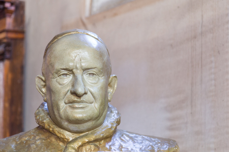 beatification: Murano Venice, Italy - October 29, 2016: Bust of Itlaian Pope Saint John XXIII in a church on Murano Island in Venice Italy.  Pope from 28 October 1958 to his death in 1963.