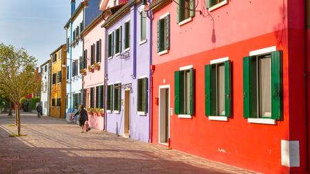 Venice, Italy - October 29, 2016: Very beautiful multi-colored houses on  the island Burano, Venice, Italy