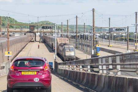 Channel tunnel, England -June 4, 2017: Cars about to board the High speed eurostar trains for the Channel Tunnel crossing between France and  England.