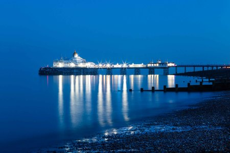seafronts: Pier Eastbourne by night, Sussex, United Kingdom