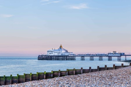 Pier during sunset  in Eastbourne, United KIngdom Stock Photo