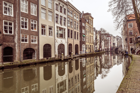Streetview of the grand canal in the historical center of Utrecht, one of the main citiies in the Netherlands
