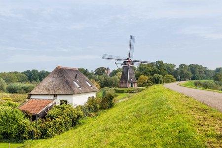 Tradiitonal windmill in Waardenburg, Gelderland, teh Netherlands