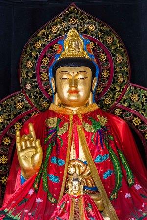 Buddha statue in Vihara Watugong  Chinese Buddhist temple in Semarang, Central Java, Indonesia Editorial