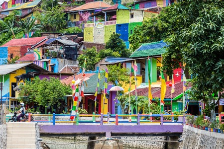 The colorful rainbow houses in Kampung Pelangi in Randusari in South Semarang in Java Indonesia