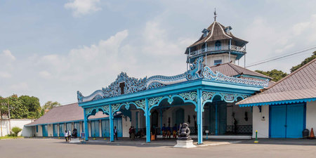 Colorful blue Palace of the Sultan in Surakarta, Java, Indonesia