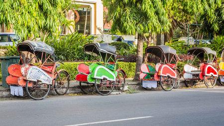 Bevak, rickshaw or pedicab in Indonesia 스톡 콘텐츠