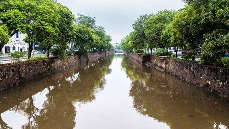 Kali Besar in Jakarta Indonesien Standard-Bild
