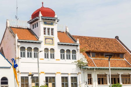 Old colonial building in the old town of Jakarta, Batavia, Java Stock Photo
