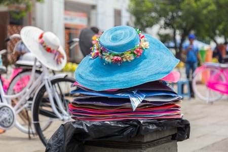 Bicycle and hats rental in the old city of Jakarta, Indonesia, Stock Photo