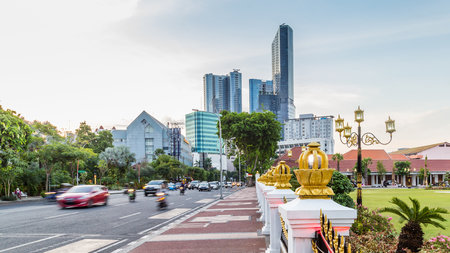 Cityscape with gate Gedung Negara Grahadi building in Surabaya, East Java , Indonesia