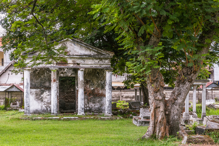 Ancient Dutch cemetery from the colonial times in Peneleh, Surabaya, Java island, Indonesia Stock Photo