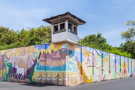 Surabaya, Indonesia - November, 04, 2017:  Wall of an old prison calles Penjara Kalisosok in Surabaya. Java, Indonesia