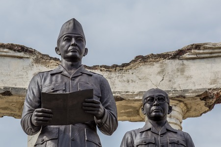Surabaya, Indonesia - November, 04, 2017:  Statue of Soekarno Hatta as part of the National Monument in Surabaya, Heroes Day, East Java, Indonesia