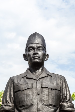 Surabaya, Indonesia - November, 05, 2017: One of the statues of the heroes monument in Surabaya, Java, Indonesia Editorial