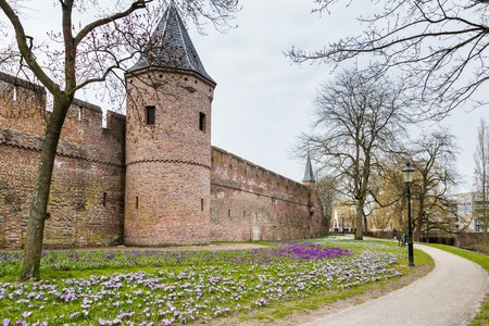 City wall and gate  in the ancient city center Stockfoto