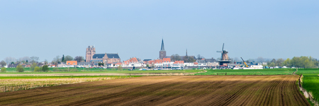 Cityscape of the acnient little city Amerongen along the river Rhine in the  Netherlands