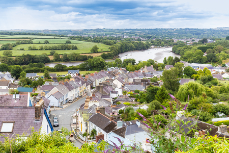 View on the town Cardigan and the river Teifi on he coast of  Pembrokeshire, in Wales, UK